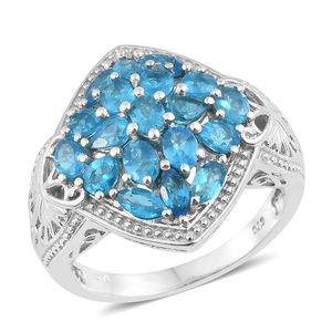 Malgache Neon Apatite Platinum Over Sterling Silver Statement Ring (Size 5.0) TGW 2.90 cts.
