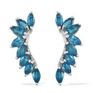 Malgache Neon Apatite Platinum Over Sterling Silver Earrings TGW 2.56 cts.