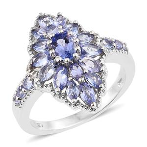 Tanzanite Platinum Over Sterling Silver Ring (Size 5.0) TGW 2.51 cts.