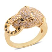 Simulated White and Black Diamond Goldtone Ring (Size 10.0) TGW 1.10 cts.