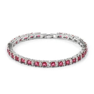 Simulated Rubellite, Simulated Diamond Silvertone Tennis Bracelet (7.50 In) TGW 15.00 cts.