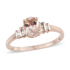 Srikant's Showstopper Marropino Morganite, Natural Champagne Diamond Vermeil RG Over Sterling Silver Ring (Size 10.0) TDiaWt 0.15 cts, TGW 1.15 cts.