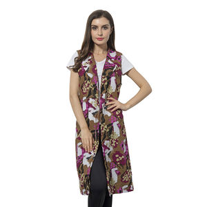 Brown, Pink and White 100% Polyester Art Pattern Summer Vest (42x18 in)