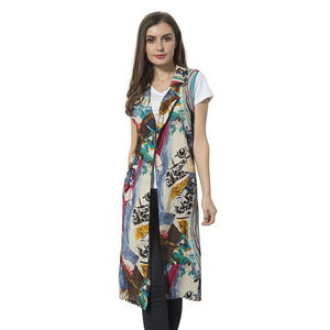 Gray and Yellow 100% Polyester Art Pattern Summer Vest (42x18 in)