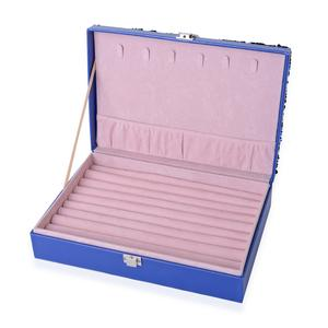 Blue Faux Leather Jewelry Box with Black Sequins Surface (11x7.5x2.8 in)
