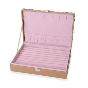 Silver Faux Leather Jewelry Box with Champagne Sequins Surface (11x7.5x2.8 in)