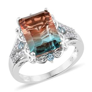 Aqua Terra Costa Quartz, Multi Gemstone Platinum Over Sterling Silver Ring (Size 10.0) TGW 8.62 cts.