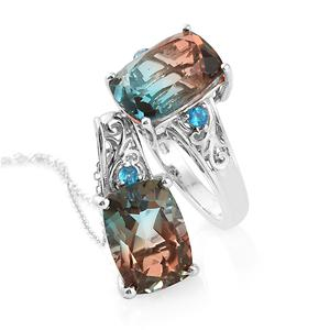 Aqua Terra Costa Quartz, Malgache Neon Apatite Platinum Over Sterling Silver Ring (Size 8) and Pendant With Chain (20 in) TGW 14.65 cts.