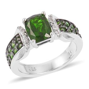 Russian Diopside, White Zircon Two-Tone Plating Sterling Silver Ring (Size 8.0) TGW 2.11 cts.