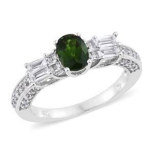 Nitin's Knockdown Deals Russian Diopside, White Topaz Platinum Over Sterling Silver Ring (Size 7.0) TGW 2.81 cts.