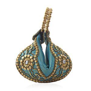 Turquoise Satin, Pearl, Acrylic Beads Potli Bag (6.5x9.5 in)