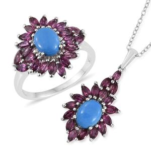 Ceruleite, Orissa Rhodolite Garnet Platinum Over Sterling Silver Ring (Size 8) and Pendant With Chain (20 in) TGW 5.95 cts.