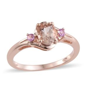 Marropino Morganite, Madagascar Pink Sapphire Vermeil RG Over Sterling Silver Ring (Size 7.0) TGW 1.23 cts.