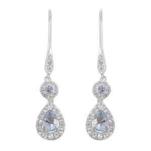 Espirito Santo Aquamarine, Multi Gemstone Sterling Silver Lever Back Earrings TGW 1.80 cts.