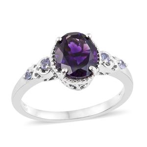 Moroccan Amethyst, Tanzanite Platinum Over Sterling Silver Ring (Size 9.0) TGW 2.64 cts.