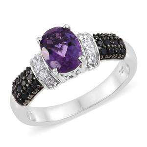 Moroccan Amethyst, Multi Gemstone Platinum Over Sterling Silver Ring (Size 7.0) TGW 2.48 cts.