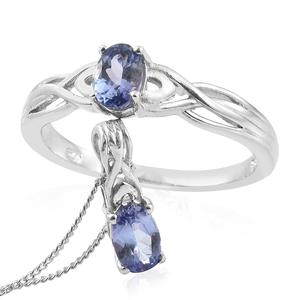 Tanzanite Platinum Over Sterling Silver Ring (Size 8) and Pendant With Chain (20 in) TGW 1.20 cts.