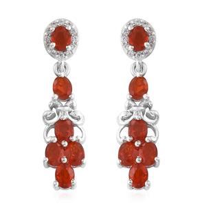 Crimson Fire Opal, Cambodian Zircon Platinum Over Sterling Silver Earrings TGW 1.60 cts.