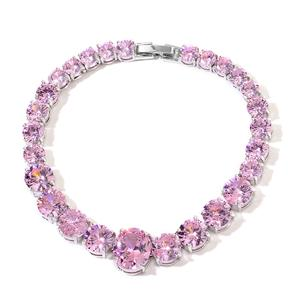 TLV Simulated Pink Sapphire Silvertone Line Bracelet (7.50 In) TGW 50.00 cts.