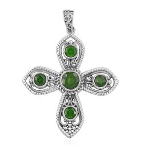 Artisan Crafted Russian Diopside Sterling Silver Cross Pendant without Chain TGW 2.27 cts.