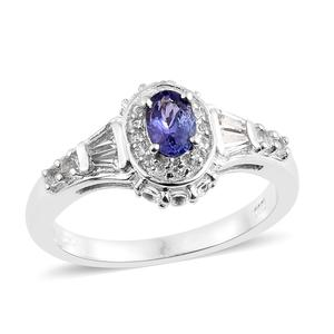 Premium AAA Tanzanite, White Topaz Platinum Over Sterling Silver Ring (Size 5.0) TGW 1.36 cts.