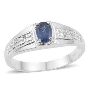 KARIS Collection - Masoala Sapphire, Cambodian Zircon Platinum Bond Brass Ring (Size 12.0) TGW 1.07 cts.