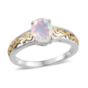 Ethiopian Welo Opal 14K YG and Platinum Over Sterling Silver Openwork Solitaire Ring (Size 10.0) TGW 1.10 cts.