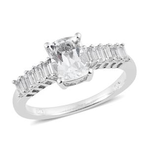 Brazilian Goshenite, White Topaz Platinum Over Sterling Silver Ring (Size 8.0) TGW 1.83 cts.