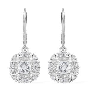 Natural White Zircon Platinum Over Sterling Silver Lever Back Earrings TGW 2.07 cts.