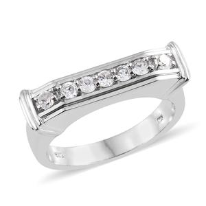 Natural White Zircon Platinum Over Sterling Silver Men's Ring (Size 10.0) TGW 1.15 cts.