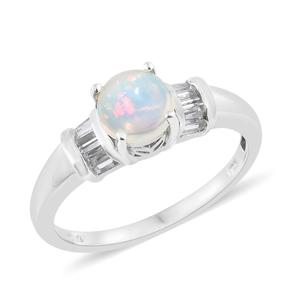 Ethiopian Welo Opal, White Topaz Platinum Over Sterling Silver Ring (Size 7.0) TGW 1.33 cts.