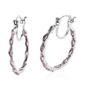 Simulated Pink Sapphire Stainless Steel Hoop Earrings TGW 1.52 cts.