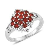 Crimson Fire Opal Platinum Over Sterling Silver Ring (Size 8.0) TGW 0.90 cts.