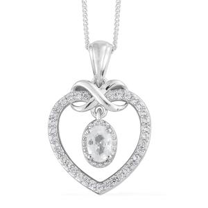 Natural White Zircon Platinum Over Sterling Silver Inner Drop Heart Pendant With Chain (20 in) TGW 1.10 cts.