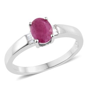 Burmese Ruby, Diamond Platinum Over Sterling Silver Ring (Size 8.0) TDiaWt 0.05 cts, TGW 1.30 cts.