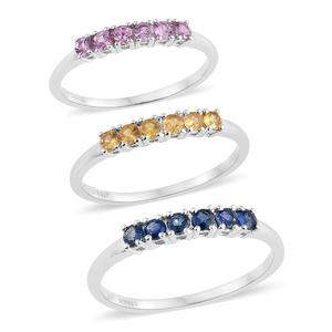 Multi Sapphire Platinum Over Sterling Silver Set of 3 Ring (Size 6) TGW 1.35 cts.