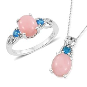 Peruvian Pink Opal, Malgache Neon Apatite Platinum Over Sterling Silver Ring (Size 7) and Pendant With Chain (20 in) TGW 4.35 cts.