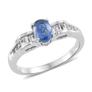 Himalayan Kyanite, White Topaz Platinum Over Sterling Silver Ring (Size 10.0) TGW 1.77 cts.