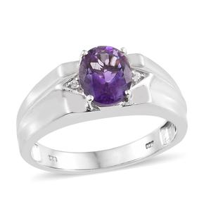 Moroccan Amethyst, Cambodian Zircon Platinum Over Sterling Silver Men's Ring (Size 10.0) TGW 2.54 cts.