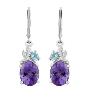 Moroccan Amethyst, Madagascar Paraiba Apatite Platinum Over Sterling Silver Lever Back Earrings TGW 5.40 cts.
