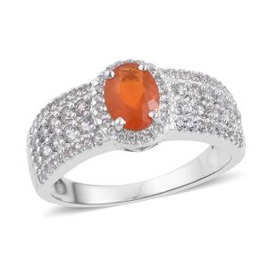 Salamanca Fire Opal, White Zircon Sterling Silver Ring (Size 8.0) TGW 2.40 cts.