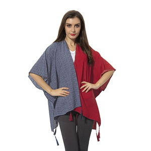 Navy and Wine Red 100% Polyester Kimono with Tassles (38.59x27.56 in)