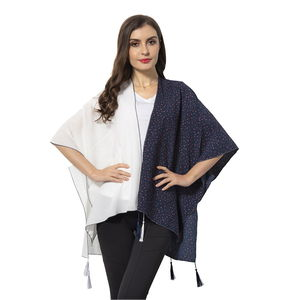 White Solid Color and Navy Dot Pattern 100% Polyester Kimono with Tassels (38.59x27.56 in)