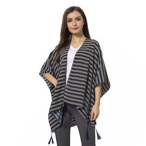 Navy 100% Polyester Strip Pattern Kimono with Tassels (38.59x27.56 in)