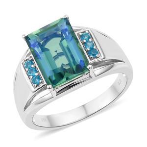 Peacock Quartz, Malgache Neon Apatite Platinum Over Sterling Silver Men's Ring (Size 10.0) TGW 8.25 cts.