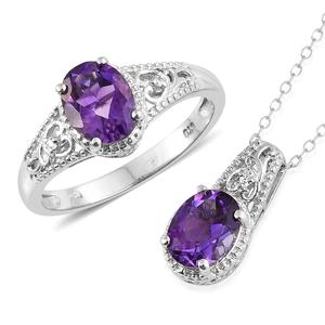 Moroccan Amethyst, Cambodian Zircon Platinum Over Sterling Silver Ring (Size 5) and Pendant With Chain (20 in) TGW 3.54 cts.