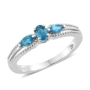 Malgache Neon Apatite Platinum Over Sterling Silver Trilogy Split Ring (Size 7.0) TGW 0.58 cts.