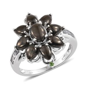 Shungite, Multi Gemstone Platinum Over Sterling Silver Floral Cluster Ring (Size 7.0) TGW 3.55 cts.