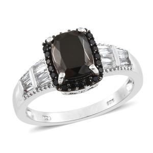 Shungite, Multi Gemstone Platinum Over Sterling Silver Ring (Size 7.0) TGW 2.10 cts.