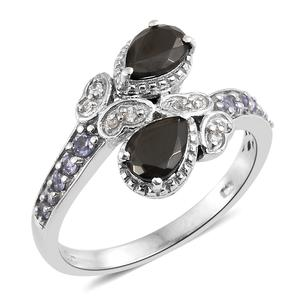 Shungite, Multi Gemstone Platinum Over Sterling Silver Butterfly Bypass Ring (Size 7.0) TGW 1.44 cts.